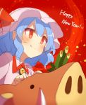 >:) 1girl 60mai bangs blue_hair blush boar brooch commentary_request dress fang_out happy_new_year hat hat_ribbon jewelry mob_cap new_year pink_dress pink_hat red_background red_eyes red_ribbon remilia_scarlet ribbon short_hair sketch solo touhou upper_body v-shaped_eyebrows
