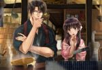 1boy 1girl :o basket black_hair blurry_foreground blush boiling bow bowl brown_eyes bucket chin_hold cooking crossed_arms drawer floral_print glasses hair_bow handle hanging_plant hetero indoors izumi_(stardustalone) japanese_clothes kimono kitchen ladle long_hair looking_at_viewer pink_kimono pump renri_no_chigiri_wo_kimi_to_shiru sweatdrop upper_body wooden_bucket
