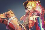 1boy ahoge arms_behind_head belt black_shirt blonde_hair blue_eyes commentary_request holding holding_sword holding_weapon hood hoodie jacket key looking_at_viewer male_focus monado nintendo open_mouth pointing pointing_at_viewer shirt shometsu-kei_no_teruru short_hair shulk simple_background solo sword weapon xenoblade_(series) xenoblade_1