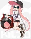 1girl :d bangs baseball_cap black_hat black_shorts blue_eyes blunt_bangs blush brown_footwear bucket domino_mask ear_blush hat holding holding_bucket inkling inkling_(language) long_hair long_sleeves looking_at_viewer maco_spl mask open_mouth pointy_ears shirt shoes shorts slosher_(splatoon) smile sneakers solo splatoon splatoon_(series) splatoon_2 striped striped_shirt suction_cups tentacle_hair very_long_hair white_shirt