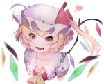 1girl ascot blonde_hair blurry blurry_background blurry_foreground collarbone commentary crystal fang flandre_scarlet frilled_hat frilled_shirt_collar frills hat hat_ribbon heart looking_at_viewer mob_cap puffy_short_sleeves puffy_sleeves red_eyes red_shirt ribbon shirt short_hair short_sleeves side_ponytail smile solo touhou upper_body wanaxtuco white_background wings yellow_neckwear