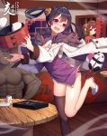 1boy 2019 2girls abs absurdres ahoge architecture azur_lane black_hair black_legwear blush breasts brown_hair bun_cover china_dress chinese_clothes cleavage cleavage_cutout clenched_teeth closed_eyes clumsy coat cowboy_shot cup dark_skin dress dumpling east_asian_architecture fang food fur_trim highres long_sleeves manatsu_no_yo_no_inmu medium_hair multiple_girls muscle new_year ning_hai_(azur_lane) open_mouth panda ping_hai_(azur_lane) purple_dress red_dress red_eyes restaurant shirtless shoes short_dress single_thighhigh small_breasts teabag teeth thigh-highs twintails violet_eyes yan_mian