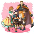 1girl 2boys belt blue_eyes blue_hair boots brother_and_sister brown_hair cape chair closed_eyes closed_mouth crossed_arms dress father_and_daughter father_and_son fire_emblem fire_emblem:_souen_no_kiseki fire_emblem_heroes flwoer green_headband greil grin hand_on_another's_head headband ike jandara_rin long_sleeves mist_(fire_emblem) multiple_boys musical_note nintendo open_mouth pants ribbon short_hair short_sleeves siblings signature sitting smile spiky_hair spoken_musical_note standing