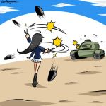 1girl afterimage ahoge black_footwear black_hair blue_jacket blue_sky boots clouds cloudy_sky commentary day firing flying_sweatdrops from_behind girls_und_panzer ground_vehicle holding holding_scissors isuzu_hana jacket kogane_(staygold) long_hair long_sleeves lowres military military_uniform military_vehicle miniskirt motion_blur motion_lines motor_vehicle ooarai_military_uniform outdoors pleated_skirt scissors skirt sky solo standing tank tank_shell twitter_username uniform white_skirt