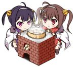 2girls :< ahoge anchor_hair_ornament azur_lane baozi brown_hair brown_legwear chibi china_dress chinese_clothes closed_mouth commentary_request dress drooling firewood food fur-trimmed_jacket fur_trim hair_ornament hair_rings hairband hairpods jacket long_hair long_sleeves multiple_girls ning_hai_(azur_lane) open_clothes open_jacket ping_hai_(azur_lane) puffy_long_sleeves puffy_sleeves purple_dress purple_hair red_dress red_eyes saliva sidelocks sparkle standing thigh-highs twintails usa_shouya violet_eyes white_background white_hairband white_jacket