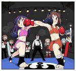 akatsuki_(kantai_collection) amatsukaze_(kantai_collection) anchor_symbol ascot blouse blue_hair boxing boxing_gloves boxing_ring brown_dress bruise dress face_punch fighting_stance fingerless_gloves flat_cap folded_ponytail garter_straps gloves hair_tubes hat hatsukaze_(kantai_collection) hibiki_(kantai_collection) hime_cut ikazuchi_(kantai_collection) in_the_face inazuma_(kantai_collection) injury kantai_collection long_hair midriff mixed_martial_arts multiple_girls navel ooyodo_(kantai_collection) punching red_legwear referee sailor_dress school_uniform serafuku short_dress short_hair shorts skirt skirt_set sports_bra sweat thigh-highs tokitsukaze_(kantai_collection) tonmoh two_side_up vest white_blouse white_hair windsock yukikaze_(kantai_collection)