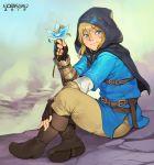 1boy belt blonde_hair blue_eyes blue_shirt boots flower highres hood looking_at_viewer nintendo norasuko shirt sitting the_legend_of_zelda the_legend_of_zelda:_breath_of_the_wild tunic