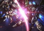 beam_saber gundam gundam_seed mecha paintedmike perfect_strike_gundam providence_gundam slashing space thrusters weapon