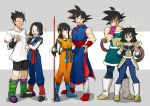 3boys 3girls armor bardock black_hair blush boots chi-chi_(dragon_ball) china_dress chinese_clothes clenched_hands cosplay costume_switch crossdressing crossed_arms dragon_ball dragonball_z dress embarrassed facepalm facial_scar gine green_eyes grey_eyes hair_tubes halo hand_on_hip highres hime_cut loafers long_hair looking_at_viewer low_twintails mbar2_64 medium_hair multiple_boys multiple_girls open_mouth ponytail power_pole scar scar_on_cheek shirt shoes sketch smile smirk son_gohan son_gokuu sparkle spiky_hair t-shirt tail trembling tunic twintails videl wristband