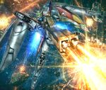 asteroid beam beam_rifle energy_gun explosion firing glowing glowing_eyes gundam gundam_wing hiropon_(tasogare_no_puu) mecha shield space thrusters weapon wing_gundam_zero