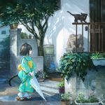 1girl animal animal_ears black_cat black_eyes black_hair bucket building cat cat_ears cat_tail closed_umbrella commentary_request day fence geta highres holding holding_umbrella japanese_clothes kimono kitten long_sleeves looking_away obi open_mouth original outdoors plant potted_plant sash sho_(sho_lwlw) short_hair signature solo standing tabi tail tree umbrella whisker_markings white_legwear wide_sleeves yukata