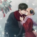 1boy 1girl black_hair black_kimono blonde_hair blue_eyes coat couple da_raku double_bun eye_contact gintama hijikata_toushirou imminent_kiss japanese_clothes kagura_(gintama) kimono looking_at_another parted_lips pink_scarf red_coat red_ribbon red_scarf ribbon scarf short_hair smile winter_clothes winter_coat