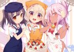 3girls apron bandanna bell bell_collar black_bra black_hair blue_apron blue_hat blush bow bra breasts brown_eyes cake chloe_von_einzbern collar cosplay dark_skin fate/grand_order fate/kaleid_liner_prisma_illya fate_(series) finger_licking food fruit fujimaru_ritsuka_(female) fujimaru_ritsuka_(male) hair_ornament hairclip hairpin half_updo hat hips illyasviel_von_einzbern jingle_bell licking long_hair looking_at_viewer miyu_edelfelt multiple_girls one_eye_closed open_mouth orange_apron orange_eyes p_answer pastry_bag paw_print pink_hair puffy_short_sleeves puffy_sleeves red_bow red_eyes shirt short_sleeves sidelocks small_breasts smile spatula strawberry tamamo_(fate)_(all) tamamo_cat_(fate) tamamo_cat_(fate)_(cosplay) twintails underwear white_apron white_hair white_shirt