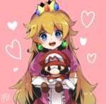 1girl :d bangs blonde_hair blue_eyes blush bright_pupils character_doll crown earrings elbow_gloves gloves hair_between_eyes heart herunia_kokuoji holding jewelry long_hair looking_at_viewer mario mario_(series) nintendo open_mouth pink_background princess_peach puffy_short_sleeves puffy_sleeves short_sleeves smile solo teeth upper_body very_long_hair white_gloves white_pupils