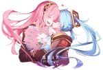 2girls anniversary blue_hair blush bouquet character_name cheek_kiss closed_eyes commentary flower hair_ornament hand_on_own_chin hatsune_miku headband heart holding holding_bouquet jacket kiss long_hair megurine_luka multiple_girls pink_hair smile twintails twitter_username upper_body very_long_hair vocaloid wanaxtuco white_background