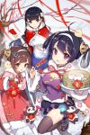 3girls ahoge anchor_hair_ornament azur_lane bamboo_steamer bangs baozi black_hair blunt_bangs breasts brown_hair catsizuru chinese_clothes cleavage cleavage_cutout coat commentary_request dango dress earrings eyebrows_visible_through_hair flower food fur-trimmed_coat fur-trimmed_jacket fur_trim hair_flower hair_ornament hair_rings hairband hairpods highres jacket jewelry large_breasts long_hair looking_at_viewer multiple_girls ning_hai_(azur_lane) outdoors panda ping_hai_(azur_lane) pink_eyes purple_dress red_coat red_dress red_eyes red_ribbon ribbon smile snow thigh-highs tree wagashi white_hairband wristband yat_sen_(azur_lane)