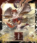 1girl armpits belt bird_legs bird_tail bird_wings bow brown_hair commentary_request hair_bow harpy japanese_clothes kunai monster_girl multicolored_hair ninja original pixiv_fantasia_last_saga ren-co shuriken silver_hair sleeveless sun two-tone_hair weapon wings yellow_eyes