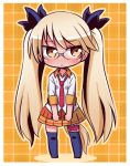 1girl :< bangs black_ribbon blonde_hair blush brown_eyes brown_skirt chibi closed_mouth collared_shirt colored_shadow commentary_request eyebrows_visible_through_hair full_body glasses hair_ribbon leg_garter long_hair long_sleeves naga_u navy_blue_legwear necktie no_shoes plaid plaid_background pleated_skirt red_neckwear retoree ribbon shadow shirt show_by_rock!! skirt solo standing thigh-highs twintails very_long_hair white_shirt