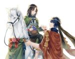 2boys black_hair blue_eyes blue_hair blush book cape facial_mark fire_emblem fire_emblem:_souen_no_kiseki fire_emblem_heroes flower gloves headband highres horse ike jacket jnsghsi long_hair male_focus multiple_boys nintendo red_eyes short_hair simple_background smile soren white_background yaoi