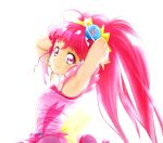1girl armpits arms_behind_head bangs closed_mouth commentary_request cure_star earrings erufa_(pixiv) eyebrows_visible_through_hair hoop_earrings hoshina_hikaru jewelry long_hair looking_at_viewer magical_girl pink_eyes pink_hair precure simple_background smile solo star_twinkle_precure twintails white_background