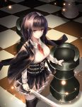 1girl black_hair black_jacket black_legwear black_skirt blazer blue_eyes breasts chess_piece chessboard collared_shirt cup6542 frilled_skirt frills from_above hair_intakes highres holding holding_sword holding_weapon jacket jacket_on_shoulders light_particles long_hair long_sleeves looking_at_viewer medium_breasts miniskirt open_clothes open_jacket original parted_lips red_neckwear ribbed_shirt rook_(chess) school_uniform shirt sidelocks skirt solo standing sword thigh-highs underbust weapon white_shirt zettai_ryouiki