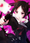 1girl :q aiming_at_viewer bangs black_dress black_hair blurry blurry_background blush bow breasts card closed_mouth commentary_request cowboy_shot depth_of_field dress goroo_(eneosu) gun hair_bow handgun heart heart-shaped_pupils highres holding holding_gun holding_weapon kaguya-sama_wa_kokurasetai_~tensai-tachi_no_renai_zunousen~ long_hair long_sleeves medium_breasts parted_bangs pink_background pistol playing_card ponytail red_bow red_eyes red_ribbon ribbon shinomiya_kaguya sidelocks simple_background sleeve_cuffs solo symbol-shaped_pupils tongue tongue_out v-shaped_eyebrows weapon