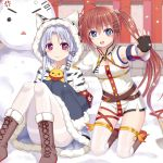 >_< 2girls :3 :d anger_vein animal animal_ears azur_lane bird blue_eyes blue_hair blush boots brown_footwear brown_hair capelet chang_chun_(azur_lane) chick closed_eyes closed_mouth commentary_request cross-laced_footwear day dress fu_shun_(azur_lane) fur-trimmed_boots fur-trimmed_capelet fur-trimmed_dress fur-trimmed_hood fur-trimmed_sleeves fur_trim hood hood_up hooded_capelet kneeling lace-up_boots long_hair long_sleeves multiple_girls open_mouth outdoors pantyhose red_eyes revision sitting sleeves_past_fingers sleeves_past_wrists smile snow snowing snowman thigh-highs thighband_pantyhose tsukino_neru twintails very_long_hair white_capelet white_dress white_legwear