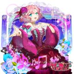 1girl :d beamed_eighth_notes blue_eyes blue_flower bow bracelet braid copyright_name curtains dress flower hair_flower hair_ornament jewelry logo musical_note nail_polish official_art open_mouth pink_bow pink_dress pink_hair red_nails smile solo standing sukja treble_clef uchi_no_hime-sama_ga_ichiban_kawaii