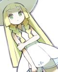 1girl absurdres blonde_hair braid closed_mouth creatures_(company) dress game_freak green_eyes hat highres lillie_(pokemon) long_hair nintendo peppedayo_ne pokemon pokemon_(game) pokemon_sm simple_background sleeveless sleeveless_dress solo sun_hat twin_braids white_background white_dress white_hat
