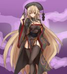 1girl absurdres adapted_costume amagi_(amagi626) black_dress black_hat black_legwear blonde_hair breasts chinese_clothes cleavage cleavage_cutout commentary_request crown dress garter_straps hand_on_own_chest hat highres junko_(touhou) large_breasts legs_crossed light_smile long_hair long_sleeves looking_at_viewer obi pom_pom_(clothes) purple_background red_eyes sash side_slit solo standing thigh-highs thighs touhou very_long_hair