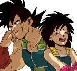 1boy 1girl :d ^_^ armor bardock black_eyes black_hair clenched_hand close-up closed_eyes closed_eyes couple dragon_ball gine hand_on_own_cheek hetero light_smile looking_away open_mouth scar short_hair simple_background smile spiky_hair tako_jirou upper_body upper_teeth white_background wristband
