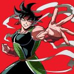 1boy armor bandanna bardock black_eyes black_hair clenched_teeth domo_ura dragon_ball frown looking_away male_focus outstretched_hand red_background scar serious shaded_face short_hair simple_background smoke spiky_hair tail teeth upper_body wristband