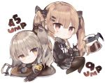 2girls armband bangs black_gloves black_skirt blush brown_eyes brown_jacket brown_legwear character_name chibi closed_mouth coffee coffee_mug commentary_request cup eyebrows_visible_through_hair fingerless_gloves girls_frontline gloves hair_between_eyes holding holding_cup jacket kotatu_(akaki01aoki00) light_brown_hair long_hair looking_at_viewer mug multiple_girls no_shoes one_side_up open_clothes open_jacket pantyhose pleated_skirt scar scar_across_eye shirt simple_background skirt smile twintails ump45_(girls_frontline) ump9_(girls_frontline) v very_long_hair white_background white_shirt