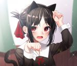 1girl animal_ears arm_up bangs black_dress black_hair black_hairband blurry blurry_background blush cat_ears cat_girl cat_tail collared_shirt commentary curtains depth_of_field dress eyebrows_visible_through_hair fake_animal_ears fingernails folded_ponytail hair_ribbon hairband highres indoors kaguya-sama_wa_kokurasetai_~tensai-tachi_no_renai_zunousen~ kemonomimi_mode long_sleeves looking_at_viewer neck_ribbon open_mouth parted_bangs paw_pose red_eyes red_ribbon ribbon romaji_commentary shinomiya_kaguya shirt sidelocks solo tail tail_raised the_cold upper_body