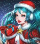 1girl aqua_eyes aqua_hair blue_ribbon breasts christmas chromatic_aberration closed_mouth commentary_request earmuffs eyelashes fur-trimmed_hat fur_trim gift gloves hat hatsune_miku highres long_hair looking_at_viewer medium_breasts red_gloves red_hat red_lips rena_illusion ribbon santa_hat shiny shiny_hair solo sparkle star twintails very_long_hair vocaloid