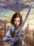 1girl alita:_battle_angel alita_(alita:_battle_angel) brown_eyes brown_hair building city clouds commentary_request cyborg facial_mark floating_city gally gunnm kishiro_yukito lens_flare lips shiny skyscraper solo sun sunset sword upper_body weapon