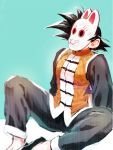 1boy arm_support black_hair blue_background chinese_clothes cosplay dragon_ball dragon_ball_(classic) dragonball_z feet_out_of_frame fox_mask grandpa_gohan grandpa_gohan_(cosplay) male_focus mask short_hair simple_background sitting son_gokuu spiky_hair spread_legs toraiaruka two-tone_background white_background