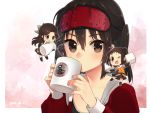 3girls alternate_costume antenna_hair bangs blush bow brown_eyes brown_hair chibi closed_mouth coffee coffee_mug commentary_request cup detached_sleeves double_bun drinking elbow_gloves eyebrows_visible_through_hair gloves hair_between_eyes hair_bow hair_intakes hair_ornament half_updo holding jintsuu_(kantai_collection) kantai_collection koruri long_hair long_sleeves looking_at_viewer mug multiple_girls naka_(kantai_collection) one_eye_closed open_mouth ponytail school_uniform sendai_(kantai_collection) serafuku simple_background sleep_mask smile sugar_cube thigh-highs