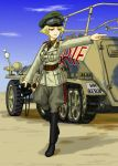 1girl alternate_costume belt binoculars blonde_hair blue_sky boots breasts clouds dragoon_(dragon_w) erwin_(girls_und_panzer) girls_und_panzer goggles goggles_on_headwear half-track hat highres iron_cross knee_boots military military_uniform sand short_hair sky solo uniform yellow_eyes