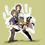 >_< 0_0 2boys 2girls brown_hair carrying carrying_under_arm glasses labcoat laughing long_hair long_pants long_sleeves medic_(sekaiju_4) multiple_boys multiple_girls open_mouth pants pleated_skirt purple_hair sekaiju_no_meikyuu sekaiju_no_meikyuu_4 short_hair sidelocks simple_background skirt sugita1754 tan_background test_tube walking white_coat