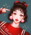 1girl arm_up black_eyes black_hair christmas closed_mouth commentary_request heart highres lips looking_at_viewer original pink_earrings pointing pointing_at_self pom_pom_earrings portrait red_lips red_ribbon red_shirt rena_illusion ribbon shirt short_hair sleeves_past_wrists solo sparkle upper_body