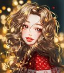 1girl backlighting christmas commentary_request eyelashes hair_between_eyes highres light_brown_hair long_hair looking_to_the_side original parted_lips portrait red_lips rena_illusion ribbed_sweater solo sparkle sweater wavy_hair