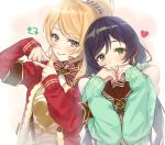 2girls ayase_eli bangs black_hair blue_eyes commentary_request green_eyes green_scrunchie green_sleeves grin hair_ornament hair_scrunchie heart highres idol long_hair looking_at_viewer love_live! love_live!_school_idol_project low_twintails microphone multiple_girls ponytail red_sweater ribbon scrunchie smile striped striped_ribbon suspenders sweater swept_bangs toujou_nozomi twintails zawawa_(satoukibi1108)