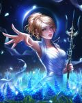 1girl absurdres blonde_hair blue_eyes braid crescent_necklace dress final_fantasy final_fantasy_xv highres jewelry lips lunafreya_nox_fleuret necklace parted_lips polearm rena_illusion short_hair solo trident weapon white_dress
