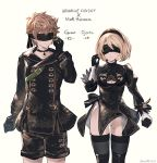 1boy 1girl bangs black_blindfold black_choker black_dress black_gloves black_hairband black_jacket black_legwear black_shorts blindfold blonde_hair breasts brown_hair character_name choker cleavage cleavage_cutout closed_mouth collarbone copyright_name cosplay djeeta_(granblue_fantasy) dress eyebrows_visible_through_hair facing_viewer gloves gran_(granblue_fantasy) granblue_fantasy groin hair_between_eyes hairband hand_up highres jacket juliet_sleeves leotard leotard_under_clothes long_sleeves medium_breasts milli_little mismatched_gloves nier_(series) nier_automata parted_lips puffy_sleeves short_shorts shorts standing thigh-highs twitter_username white_gloves white_leotard yorha_no._2_type_b yorha_no._2_type_b_(cosplay) yorha_no._9_type_s yorha_no._9_type_s_(cosplay)