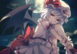 1girl bangs bat_wings blue_hair bobby_socks bow clouds commentary_request dise dress eyebrows_visible_through_hair feet_out_of_frame frilled_shirt_collar frills full_moon hair_between_eyes hat hat_ribbon highres knees_up looking_at_viewer mob_cap moon night night_sky outdoors red_bow red_eyes red_ribbon red_sash remilia_scarlet ribbon sash shoes short_hair sitting sky socks solo star_(sky) starry_sky touhou white_dress white_footwear white_hat white_legwear wings wrist_cuffs