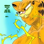 1boy animal_ears aura black_eyes bruise cat cat_ears collarbone dragon_ball dragonball_z english_text furry garfield garfield_(character) grin injury male_focus manly muscle no_humans orange_fur parody personification smile solo sweat thrudfiranflams vegeta what
