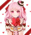 1girl alternate_hairstyle artist_name bang_dream! bangs box corset ferrel_(rocher_71) flower frilled_sleeves frills gift hair_ribbon hands_up hat hat_flower heart heart-shaped_box holding holding_gift long_hair looking_at_viewer maruyama_aya pink_eyes pink_flower pink_hair pink_rose red_ribbon ribbon rose shirt short_sleeves shoulder_cutout simple_background smile solo striped striped_shirt two_side_up upper_body valentine vertical-striped_shirt vertical_stripes wavy_hair white_background wrist_cuffs