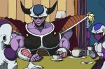 4boys alien armor brother cape commentary_request cooler_(dragon_ball) cup dragon_ball dragonball_z family father_and_son frieza ginutaro horns king_cold lamp multiple_boys muscle no_humans parody salza scouter siblings silent_hill silent_hill_3 table teacup
