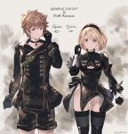 1boy 1girl bangs black_choker black_dress black_gloves black_hairband black_jacket black_legwear black_shorts blonde_hair breasts brown_eyes brown_hair character_name choker cleavage cleavage_cutout closed_mouth collarbone commentary_request copyright_name cosplay djeeta_(granblue_fantasy) dress eyebrows_visible_through_hair gloves gran_(granblue_fantasy) granblue_fantasy groin hair_between_eyes hairband hand_up highleg highleg_leotard highres jacket juliet_sleeves leotard leotard_under_clothes long_sleeves looking_at_viewer medium_breasts milli_little mismatched_gloves nier_(series) nier_automata parted_lips puffy_sleeves short_shorts shorts standing thigh-highs twitter_username white_gloves white_leotard yorha_no._2_type_b yorha_no._2_type_b_(cosplay) yorha_no._9_type_s yorha_no._9_type_s_(cosplay)